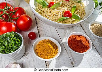 Fresh vegetables and Italian cuisine