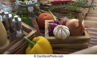 Fresh vegetables and seasoning for low calorie diet....