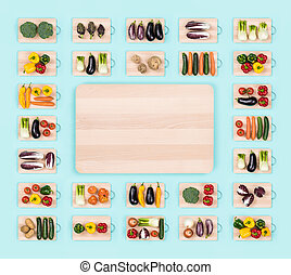 Fresh vegetables and wooden chopping board