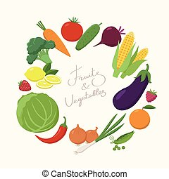 Fresh Vegetables around the text place in flat design isolated on white background. Vegetarian food concept vector illustration. Round frame of various fruits and vegetables and lettering text inside
