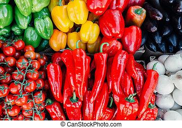 Fresh vegetables at farmer's counter