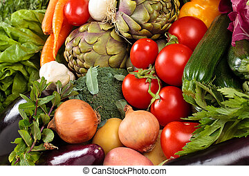 Fresh vegetables background.