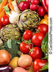 Fresh vegetables background.