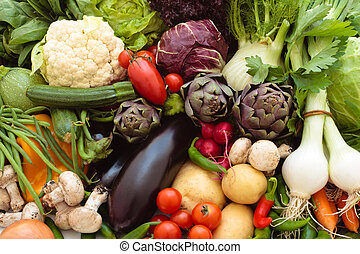 Fresh vegetables. - Background of mixed fresh organic ...