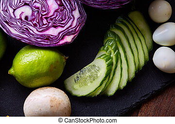 Fresh vegetables background, shallow depth of field, selective focus, close-up