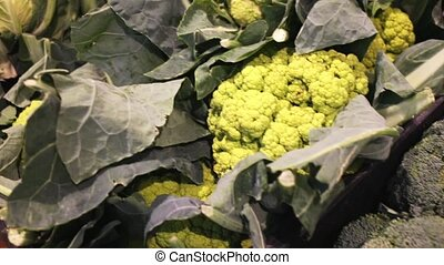 Fresh vegetables (broccoli, cauliflower and chard) in ...