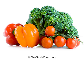 Fresh vegetables, broccoli, pepper and tomatoes
