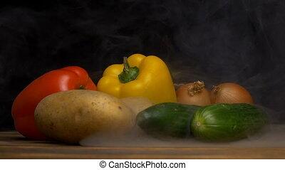 Fresh vegetables Bulgarian pepper, cucumbers, potatoes and...