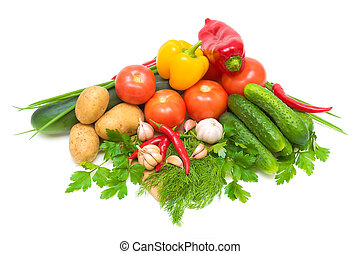 Fresh vegetables close-up on a white background