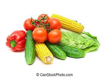 fresh vegetables closeup isolated on white background