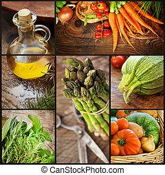 Fresh vegetables collage