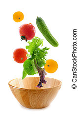 Fresh vegetables falling - Assorted fresh vegetables falling...