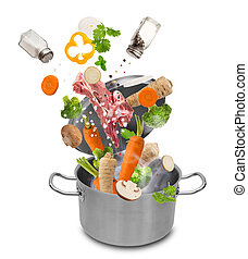 Fresh vegetables falling into stainless steel pot isolated ...