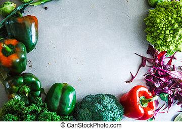 Fresh vegetables flatlay overhead frame. Food layout. ...