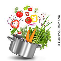 fresh vegetables flying in a pot on an isolated white background