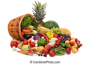 Fresh Vegetables, Fruits and other foodstuffs. Isolated