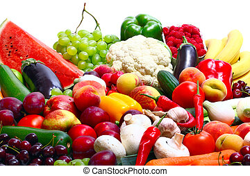 Fresh Vegetables, Fruits and other foodstuffs on white
