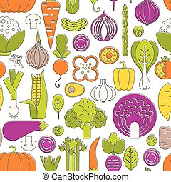 Fresh Vegetables illustration - Seamless pattern with fresh...