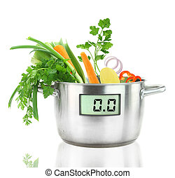Fresh vegetables in a casserole pot with digital weight...