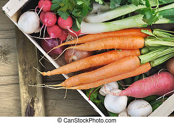 vegetables in a crate