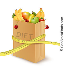 Fresh vegetables in a paper grocery bag with measuring tape. Concept of diet. Vector