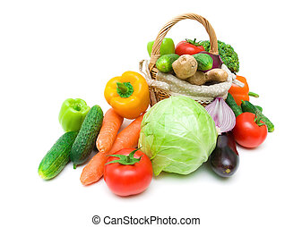 Fresh vegetables in a wicker basket isolated on white background close-up. horizontal photo.