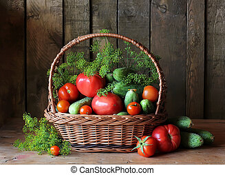 Fresh vegetables in basket. Still life.
