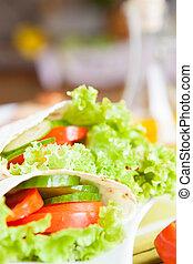 fresh vegetables in pita bread