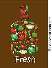 Fresh vegetables in shape of cutting board