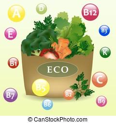 Fresh vegetables in the bag.
