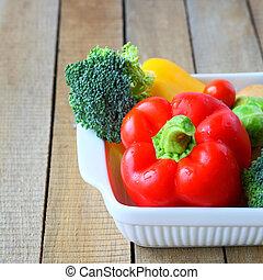 fresh vegetables in the kitchen utensils