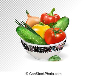 Fresh vegetables in white ceramic bowl. Tomatoes, cucumbers, pepper and onion composition. Realistic vector, 3d illustration