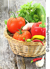 Fresh vegetables in wicker basket