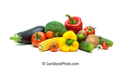 fresh vegetables isolated on white background close up.