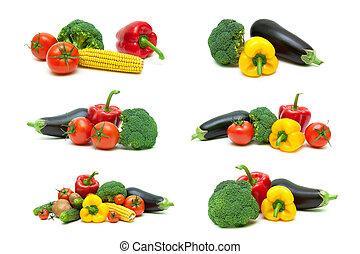 Fresh vegetables isolated on white background.