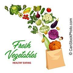 Fresh vegetables market, healthy eating banner