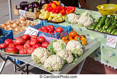 Fresh vegetables of new harvest ready to sale at the local farmers market