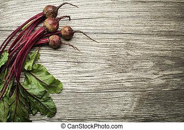 Beetroot - Fresh vegetables of organic Beetroot on wooden...