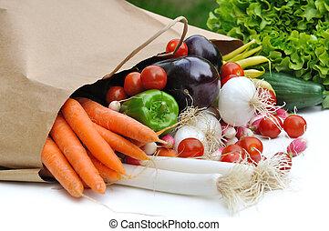 fresh vegetables on a bag