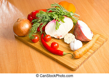 Fresh vegetables on a chopping board