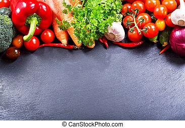 fresh vegetables on a dark background