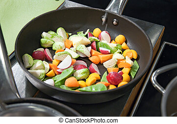 fresh vegetables on a frying pan