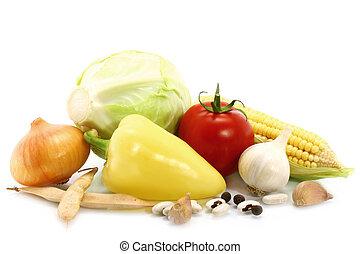 Fresh vegetables on a white background