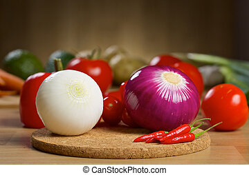 Fresh vegetables on a wooden board