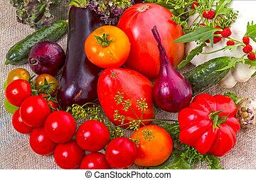 Fresh vegetables  on burlap