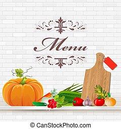 Fresh vegetables on shelf for your design