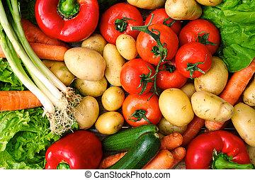 fresh vegetables on table after market