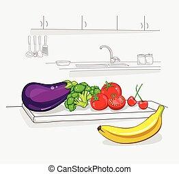 Fresh vegetables on the kichen. Healthy organic food. Vegan...