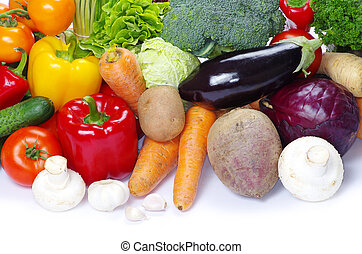 fresh vegetables on the white background