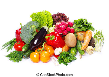 vegetables - fresh vegetables on the white background